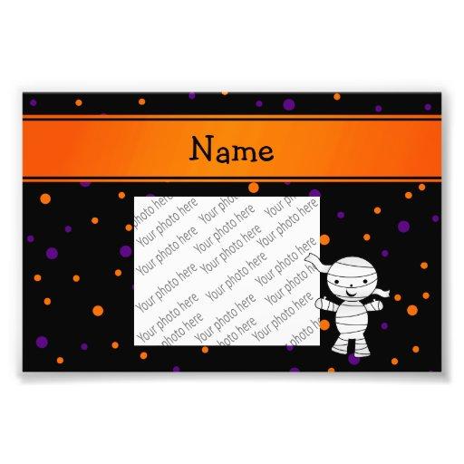 Personalized name mummy purple orange dots photographic print