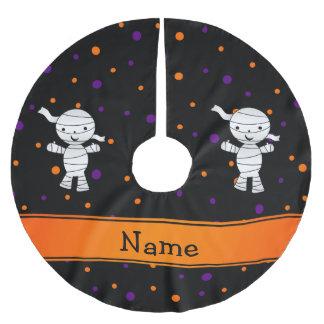 Personalized name mummy purple orange dots brushed polyester tree skirt