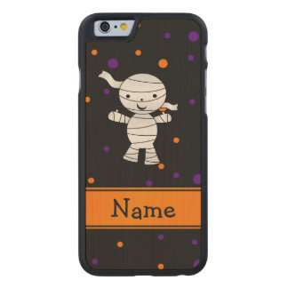 Personalized name mummy purple orange dots carved® maple iPhone 6 case