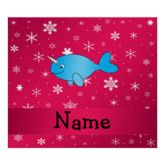Personalized name narwhal pink snowflakes posters