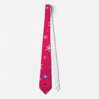 Personalized name narwhal pink snowflakes tie