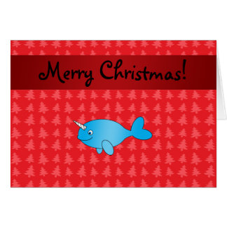 Personalized name narwhal red christmas trees card