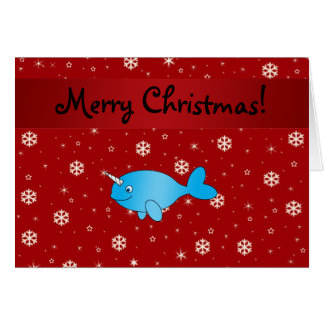 Personalized name narwhal red snowflakes card