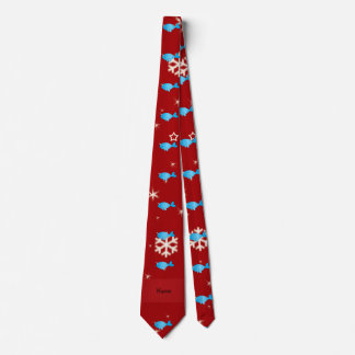 Personalized name narwhal red snowflakes tie