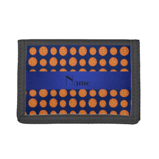 Personalized name navy blue basketballs tri-fold wallet