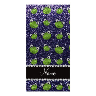 Personalized name navy blue glitter frogs customized photo card