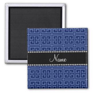 Personalized name navy blue greek key pattern fridge magnet
