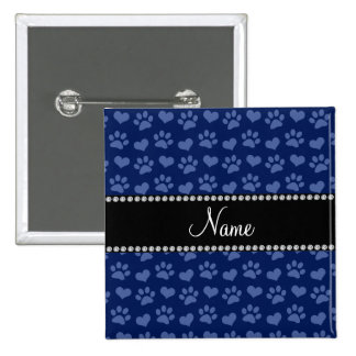 Personalized name navy blue hearts and paw prints 15 cm square badge
