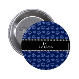 Personalized name navy blue hearts and paw prints 6 cm round badge