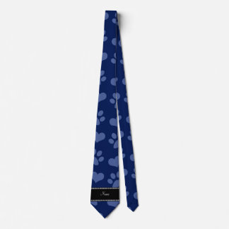 Personalized name navy blue hearts and paw prints tie