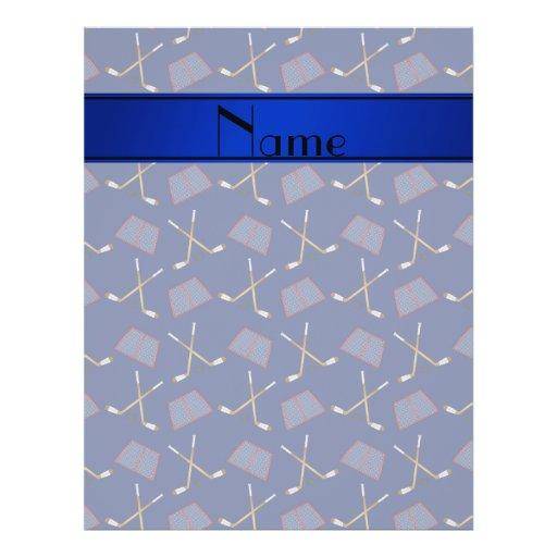 Personalized name navy blue hockey sticks flyer