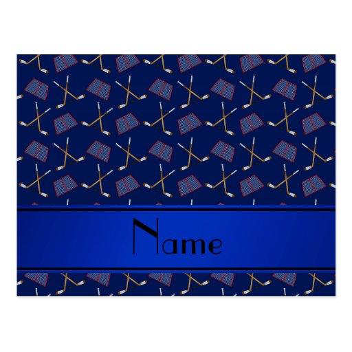 Personalized name navy blue hockey sticks postcards
