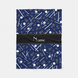 Personalized name navy blue lacrosse fleece blanket