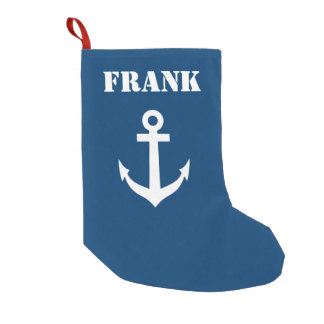 Personalized name navy blue nautical boat anchor small christmas stocking
