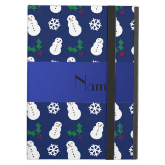 Personalized name navy blue snowman christmas iPad cases