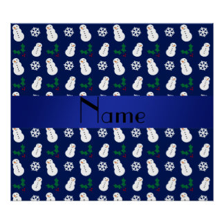 Personalized name navy blue snowman christmas posters