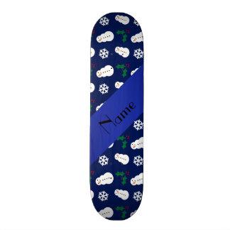 Personalized name navy blue snowman christmas skate board decks
