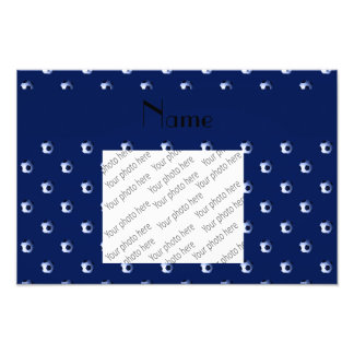 Personalized name navy blue soccer balls art photo