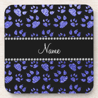 Personalized name neon blue glitter cat paws drink coaster