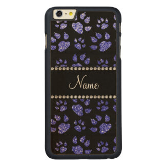 Personalized name neon blue glitter cat paws carved® maple iPhone 6 plus slim case