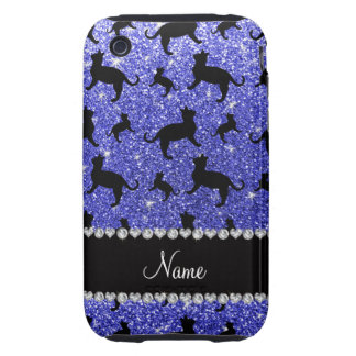Personalized name neon blue glitter cats tough iPhone 3 case