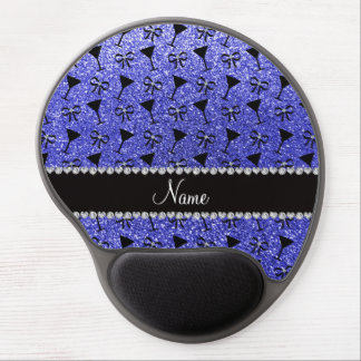 Personalized name neon blue glitter cocktail glas gel mouse pad