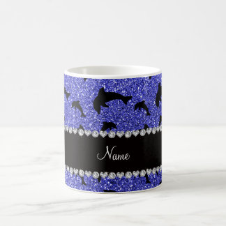 Personalized name neon blue glitter dolphins coffee mug