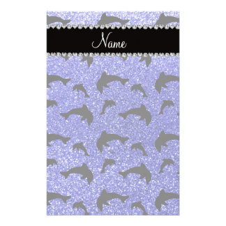 Personalized name neon blue glitter dolphins stationery