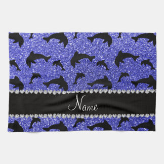 Personalized name neon blue glitter dolphins tea towel