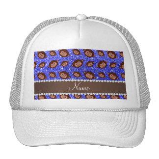 Personalized name neon blue glitter monkeys cap