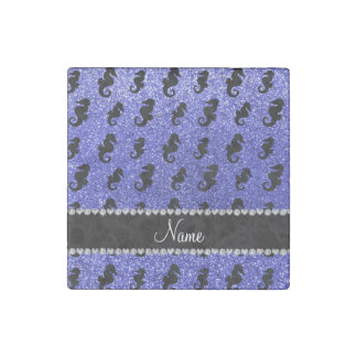 Personalized name neon blue glitter seahorses stone magnet