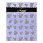 Personalized name neon blue glitter squirrel personalized flyer