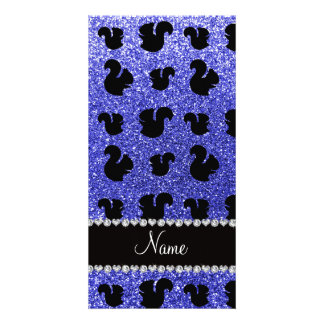 Personalized name neon blue glitter squirrels photo card