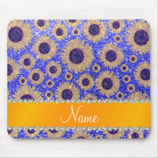 Personalized name neon blue glitter sunflowers mouse mat