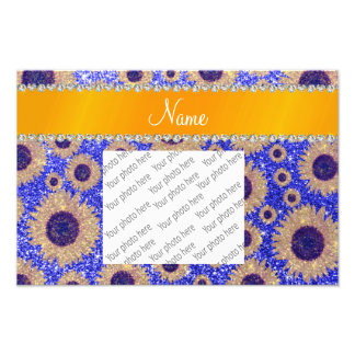 Personalized name neon blue glitter sunflowers photo