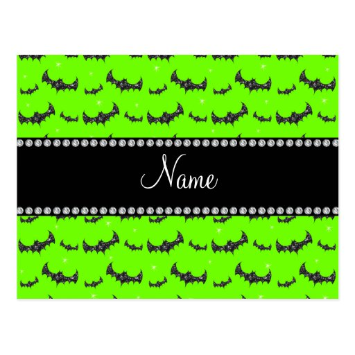Personalized name neon green glitter bats post card