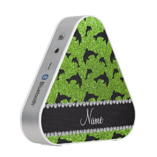 Personalized name neon green glitter dolphins speaker