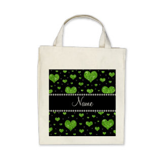 Personalized name neon green glitter hearts canvas bags