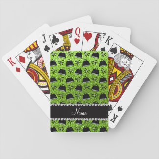 Personalized name neon green glitter purses bow playing cards