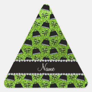 Personalized name neon green glitter purses bow triangle sticker