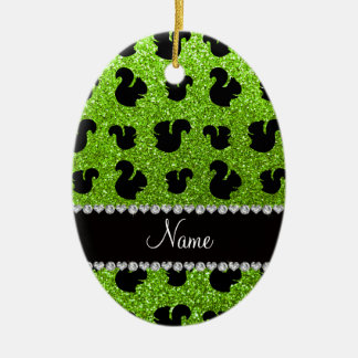 Personalized name neon green glitter squirrel christmas ornament