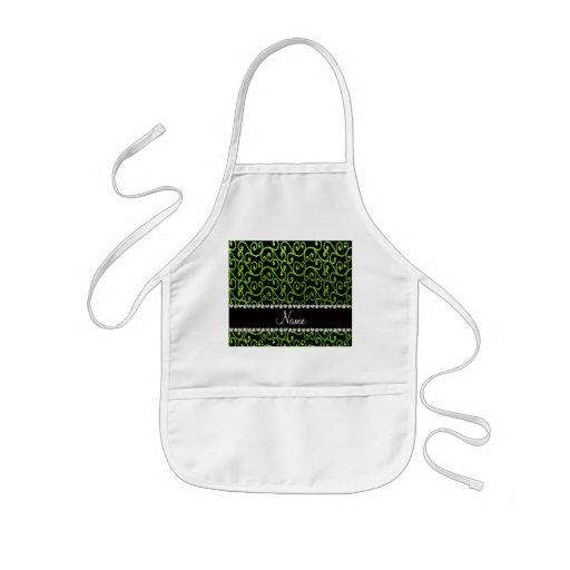 Personalized name neon green glitter swirls apron