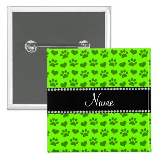 Personalized name neon green hearts and paw prints pinback buttons