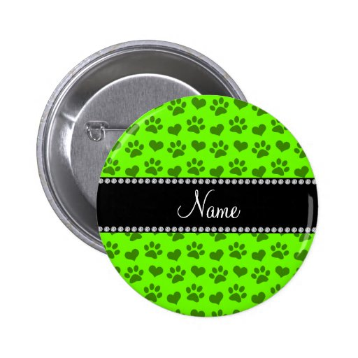 Personalized name neon green hearts and paw prints pinback button