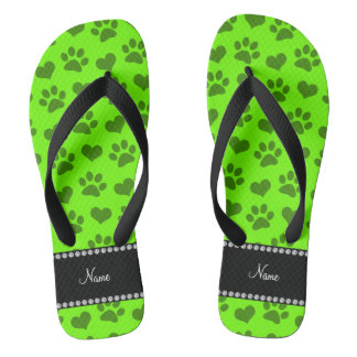 Personalized name neon green hearts and paw prints flip flops