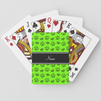 Personalized name neon green hearts and paw prints playing cards