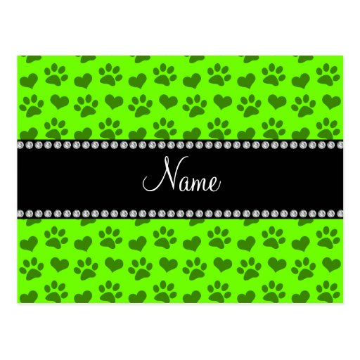 Personalized name neon green hearts and paw prints postcards