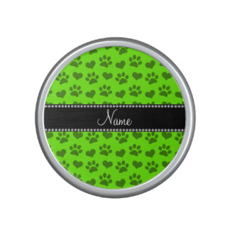 Personalized name neon green hearts and paw prints speaker