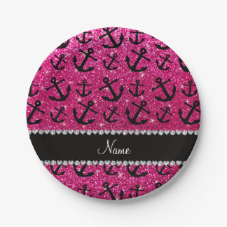 Personalized name neon hot pink glitter anchors paper plate