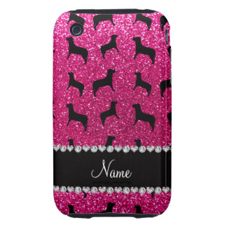 Personalized name neon hot pink glitter dogs iPhone 3 tough cases